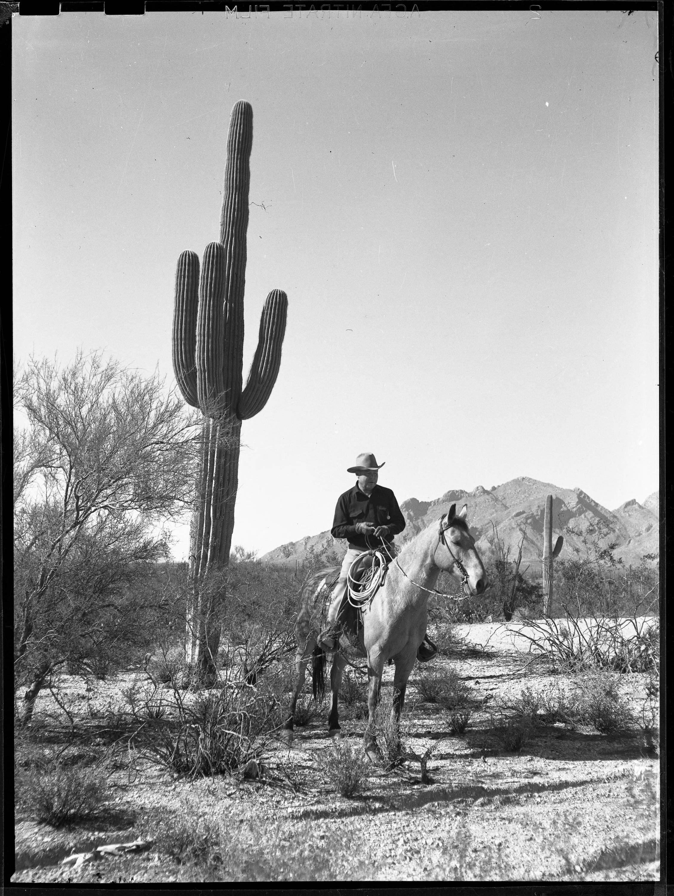 Author Walt Coburn riding a horse near his house in Tucson, Arizona